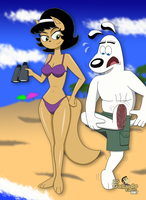 Kitty Katswell and Dudley in the beach by LGGallardo