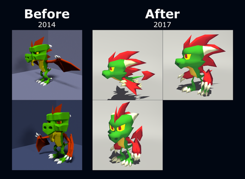 Spaz Low Poly Before and After by Logic-Monkey