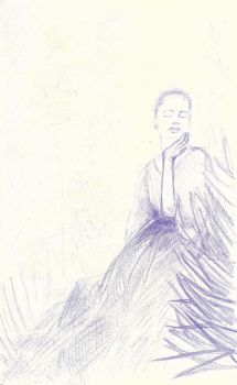 Woman in blue - pencil study by MarcoPellino