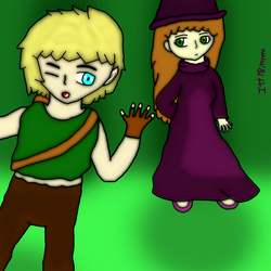 The Sorceress and her Wood Elf Archer by IttyBitty1996