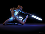 Cyborg girl - lighting rings by xGrabx