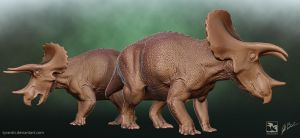 Triceratops Sub-Adult and Adult - Saurian by LittleBaardo