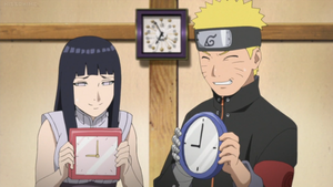 Naruto and Hinata With Clocks by weissdrum