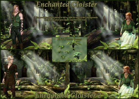 Enchanted Cloister Backgrounds_2 background sets by cactuskim