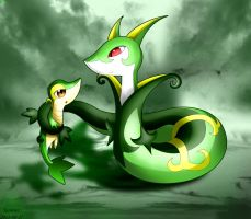 Snivy And Serperior by KairouZ