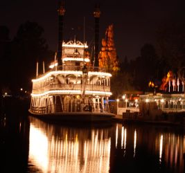 Mark Twain Riverboat Night Time by Bill-Devine