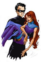 Nightwing 'Robin' and Starfire by hanime