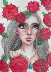 PORTRAIT OF A GIRL WITH ROSES by KonniTheVampire