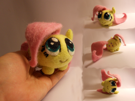 Needle Felted Fluttershy Chubby by MaijaFeja