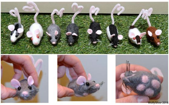 Needle Felted Teeny Ratties! by wolfysilver