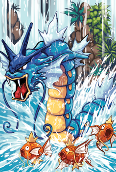 Gyarados in the waterfall by michellescribbles