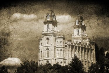 Manti Temple Sepia Texture by houstonryan