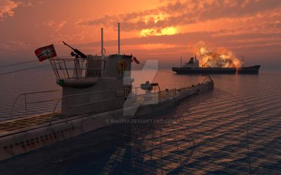 A German U-Boat Moving In For The Final Kill. by MasPix