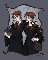 Weasley Twins by IrenHorrors