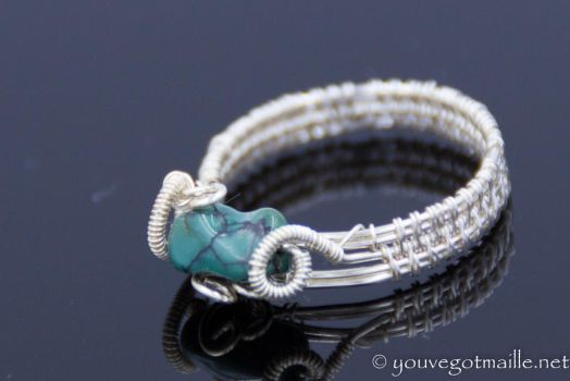 Turquoise Nugget Wire Ring by youvegotmaille