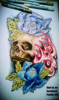 SKULL AND PEONY FLOWERS tattoo flash by zack-chiswell