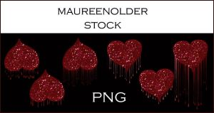 STOCK PNG Dripping hearts by MaureenOlder