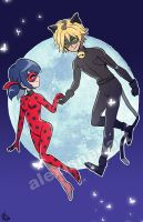 Miraculous Ladybug and Chat Noir by alexisneo