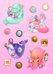 Sea Creatures and Donuts 1 by The-Virgo-Fairy