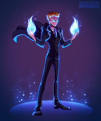 [Commission] Blue fire by Margo-sama
