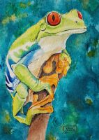 World Watercolor Month - Day 8 (Green Tree Frog) by Harmony1965