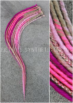 synthetic dreads - pink accent kit by FilthyDreads