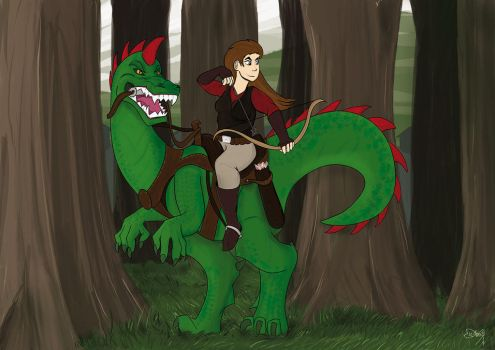 Archer on dinosaur by michno