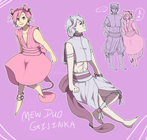 Legendary Gijinkas: Mew Duo by Jonquilladin