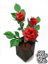 Red origami rose plant by OrigamiAround
