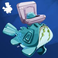 Toilet Whale by Zat3am
