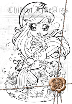 Lineart | Disney Chibi | Ariel dressed as Flounder by Chibivi-Linearts