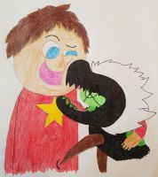 A boy and his pet by fnafgarbage