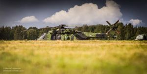 Military Helicopter on the Ground, Finland by hmcindie