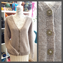 Beige raglan cardigan with v-neck by KnitLizzy