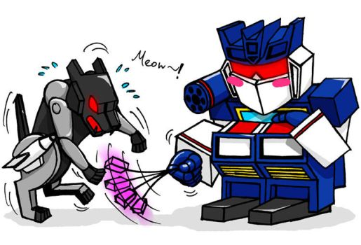 Soundwave playing with Ravage by solarafoxwell