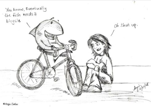 The fish and the bicycle by anjusabu