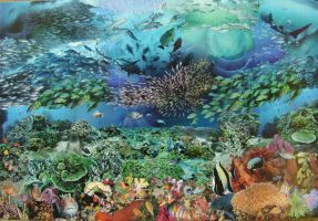Underwater paradise collage by adriansalamandre