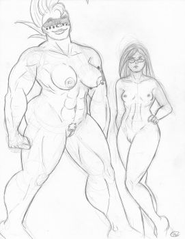 Jawdropper and Valedictoria (nude) by Jabroniville