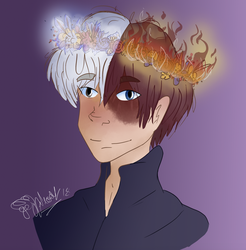 Shouto with a flower crown (cause I'm basic) by MyLittleJewMonster