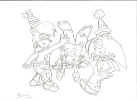 Sally , Sonic and Tails sketch by babirox753
