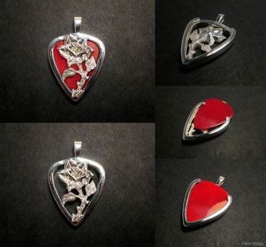 Rose guitar pick holder pendant by Dans-Magic