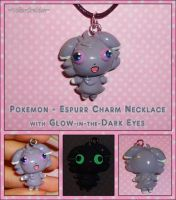 Pokemon - Espurr Charm Necklace with Glowing Eyes