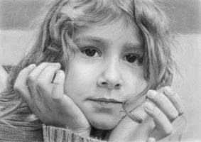 Pencil portrait of a pensive girl by LateStarter63