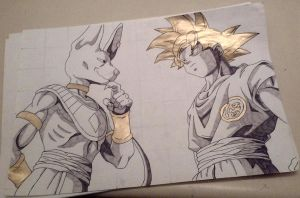 Dragonball Z Battle Of The Gods Goku and Beerus by ayeeitsbreed
