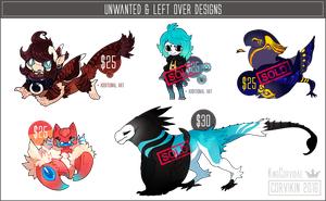 Leftover and unwanted designs - OPEN by KngCorvidae