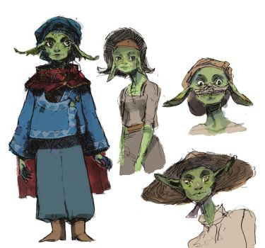 Coloured Goblin Train Sketches by hatthecat123