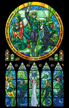 Green Lantern Corp Stained Glass Window by nenuiel