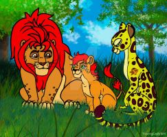 Happy Family(Kion,Fuli and their daughter Layla) by YoungLadyArt