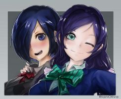 Commission - Nozomi and Touka by RlanOliva