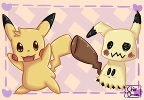 Mimikyu And Pikachu by ChivDraws